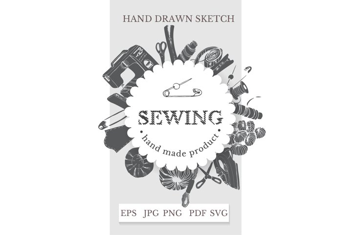 Sewing clipart. Hand drawn sewing items. Sewing logo.