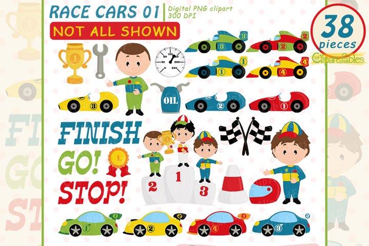 Cute RACE CARS clipart, Racing party, Formula 1 clip art set