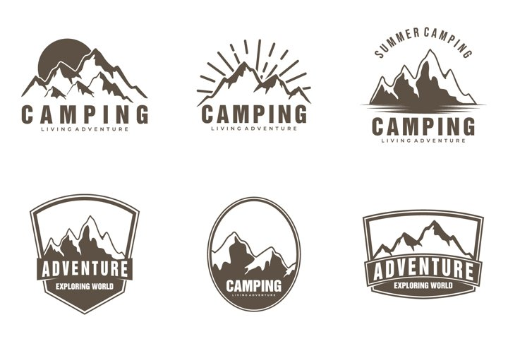 Camping and outdoor adventure emblems