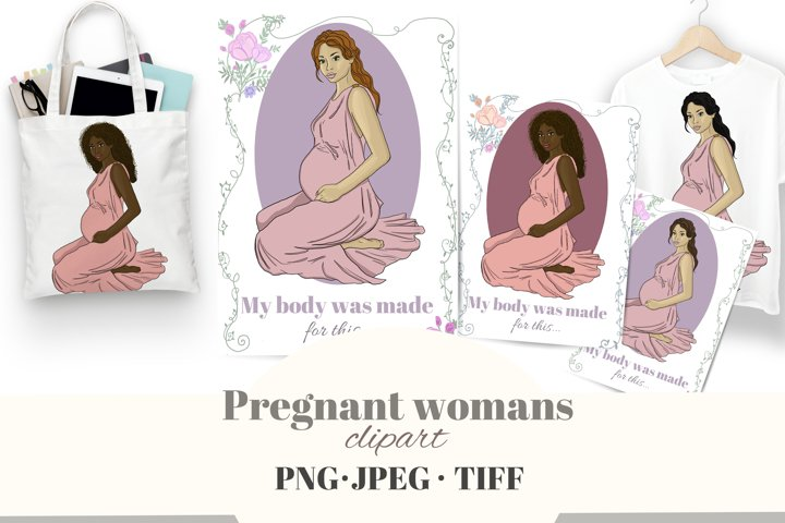 Beautiful pregnant woman clipart. Maternity cards, posters.