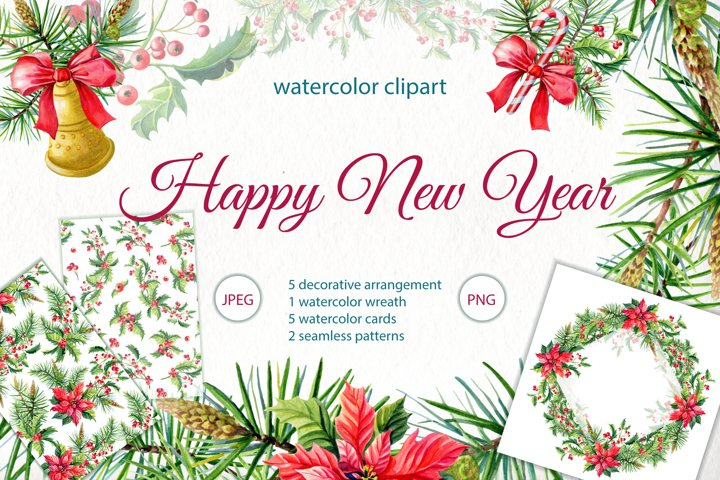 Happy New Year.Watercolor
