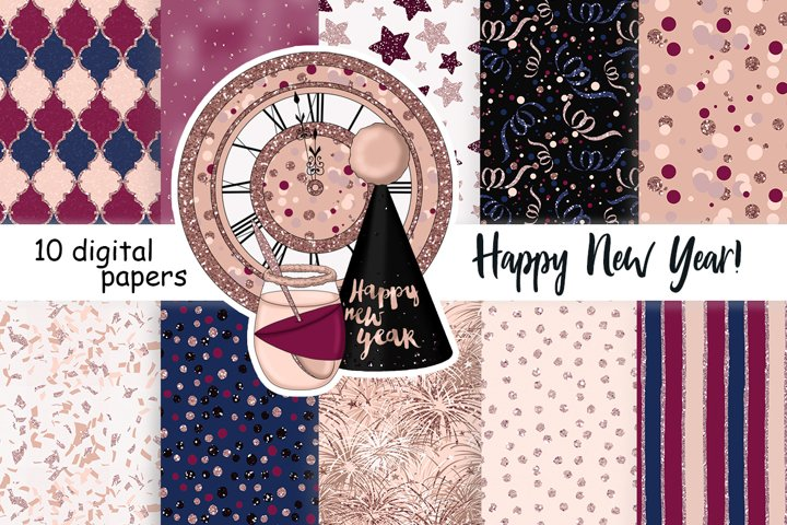 Happy New Year Rose Gold PATTERN Print Digital Paper JPEG