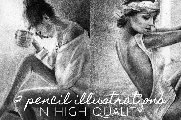 Drawings of girls in high quality pencil. Freehand graphic