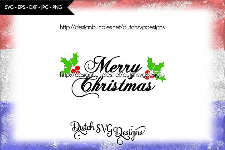 Text cutting file Merry Christmas with holly leaves