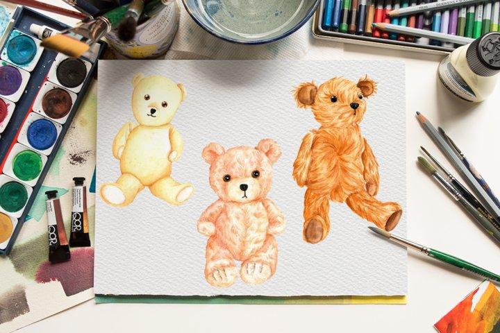 Watercolor Cute Teddy bears, Hand painted teddy bears