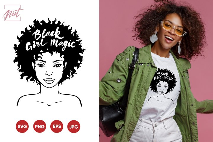 Black girl magic svg, black girl face svg