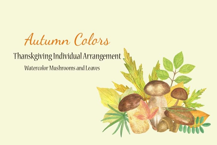 Autumn mushrooms and leaves watercolor clipart