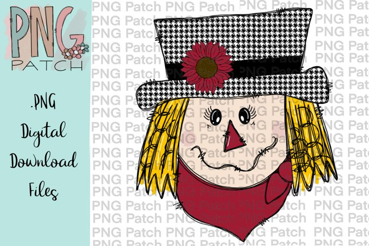 Scarecrow Girl Houndstooth Print, Fall PNG File, Sublimation
