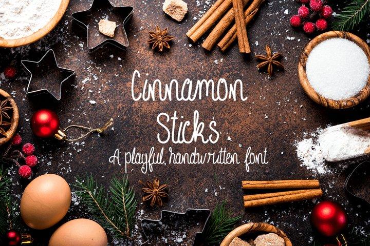 Cinnamon Sticks Handwritten Font example