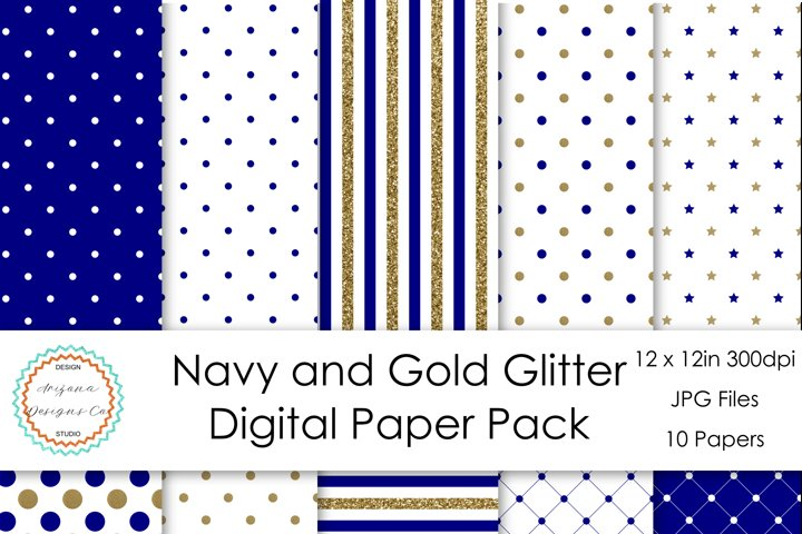 Navy and Gold Glitter Digital Paper Pack