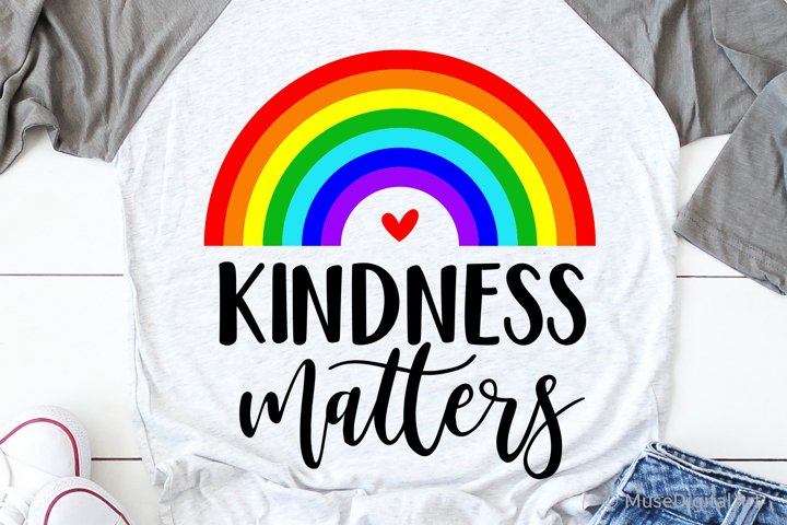 Kindness Matters Svg, Rainbow Teacher Svg, School Rainbow