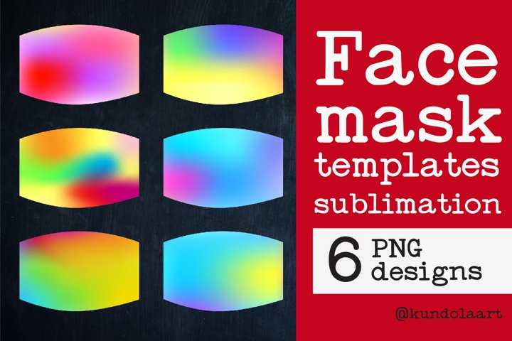Face Mask sublimation designs. PNG. Gradient rainbow