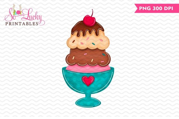 Ice Cream Sundae printable sublimation design