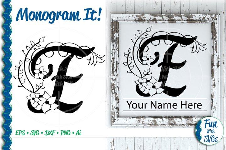 SVG Monogram Letter E, Vector, Cut File, Clip Art, FWS354