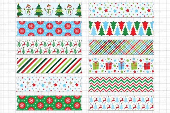 Christmas Washi Tape Clipart, Christmas Graphics