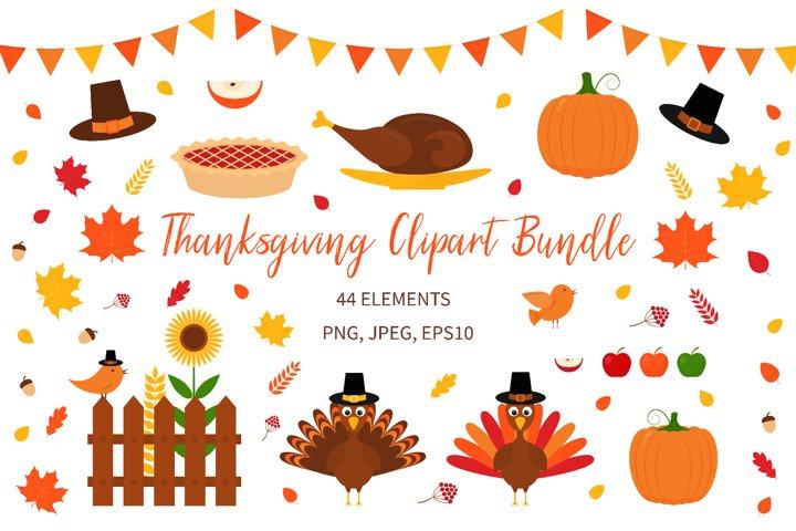 Thanksgiving Clipart Bundle. Autumn Clip Art Package.