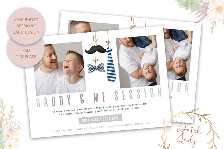 PSD Daddy & Me Photo Session Card Template - Design #66