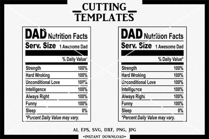 Dad Nutrition Facts, Silhouette, Cricut, Cameo, SVG, DXF
