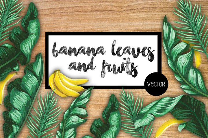 Banana leaves and fruit isolated with four pattern