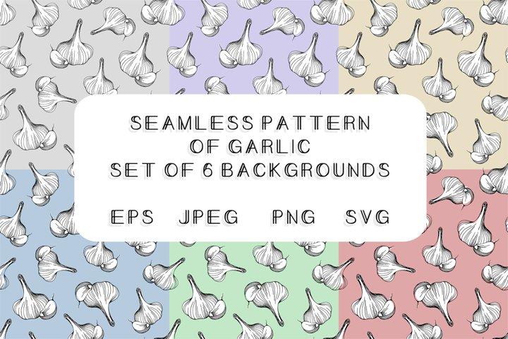 Pattern of garlic.Digital paper.Backgrounds.SVG,PNG,EPS,JPEG
