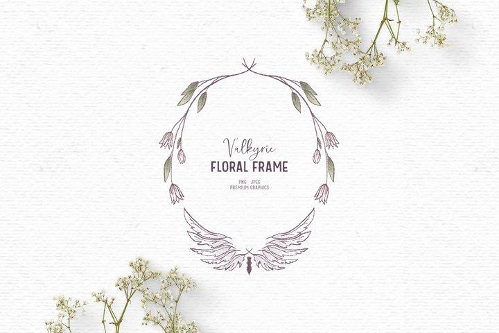 Hand drawn Valkyrie clipart | Floral wreath clipart