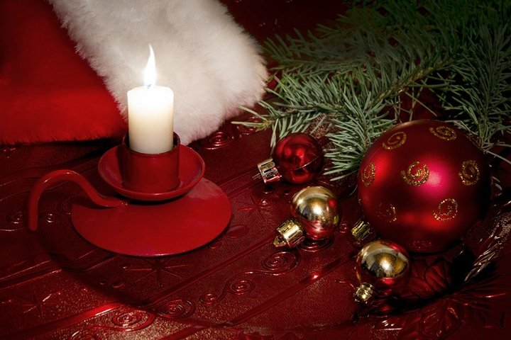 Christmas card with candle