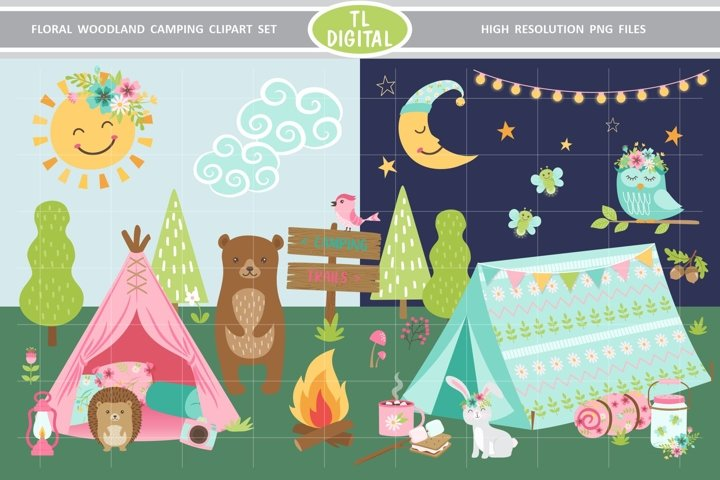Floral Woodland Camping Clipart - 75 Illustrations - PNG
