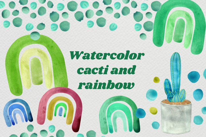 Watercolor rainbows and cacti