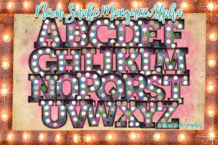 Neon Snake Marquee Alphabet Sublimation Download