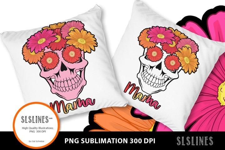Mama Flower Skull PNG sublimation Pink & Orange