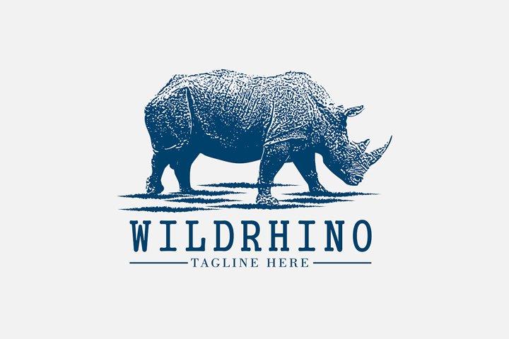 Awesome vintage logo for wild rhino