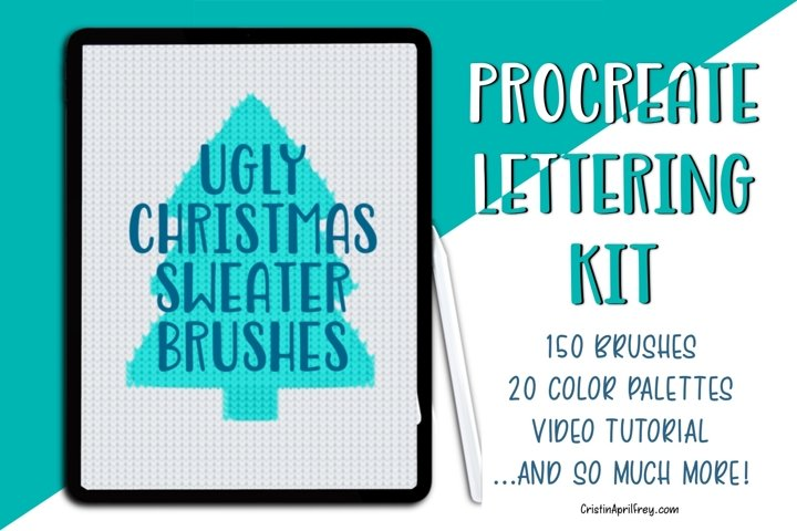 Ugly Christmas Sweater Procreate Brushes and Lettering Kit