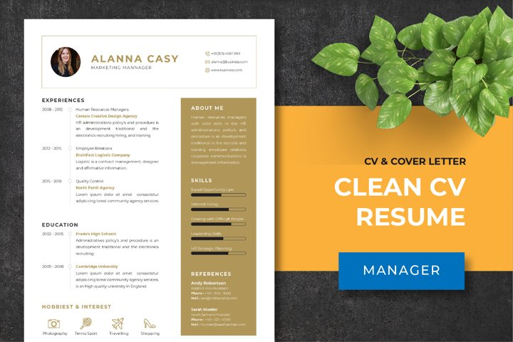 Clean CV Resume Template - Manager
