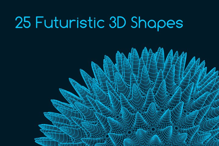 25 Futuristic 3D non-Euclidean Shapes-AI, EPS, PSD, JPG, PN