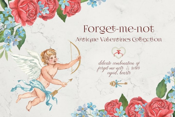 Forget-me-not Antique Valentines Collection. Cupid Clipart