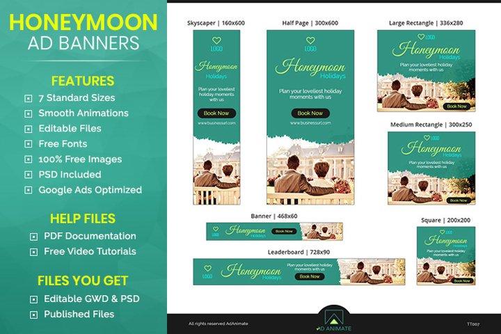 Honeymoon Booking Banner- Tour & Travel Ad Templates