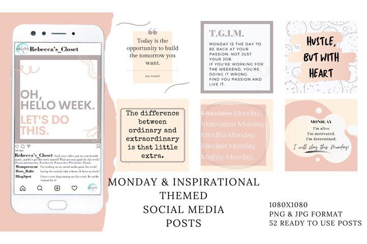 52 Social Media Posts - Monday & Inspirational Themed