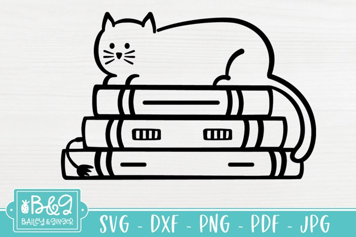 Cat on Stack of Books SVG, Book Lover SVG, Reading SVG