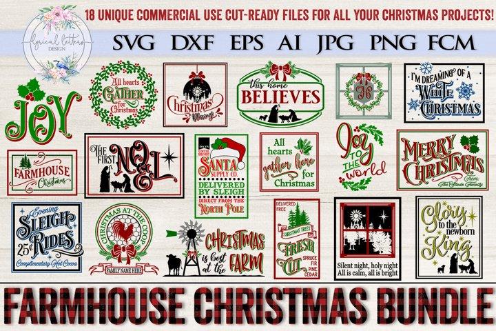 Farmhouse Christmas Bundle of 18 SVG Designs