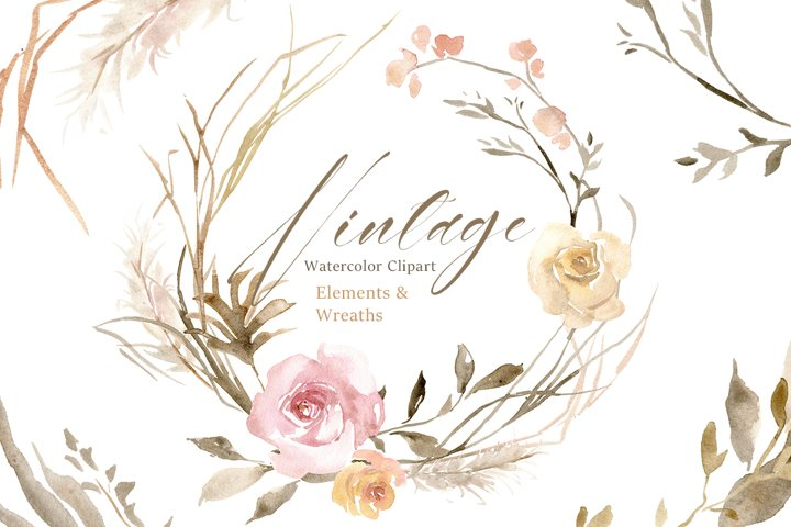 Vintage Watercolor Roses Flowers and Wreaths