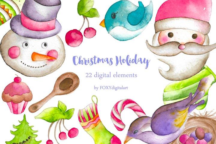 Christmas Santa Watercolor Clipart