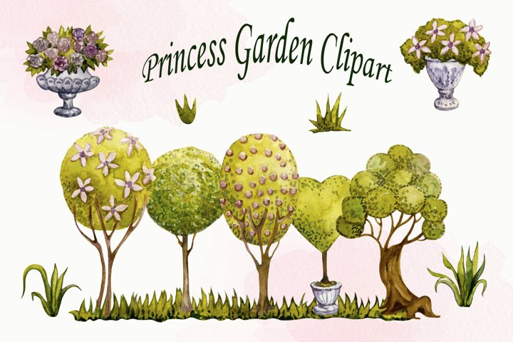 Watercolor Topiary Clipart set, Gargen Trees png, Landscape