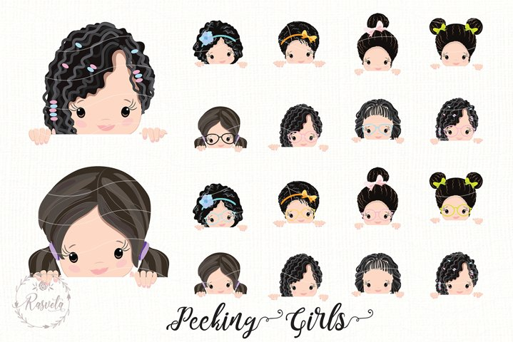 Peeking Little Girls Clipart/2