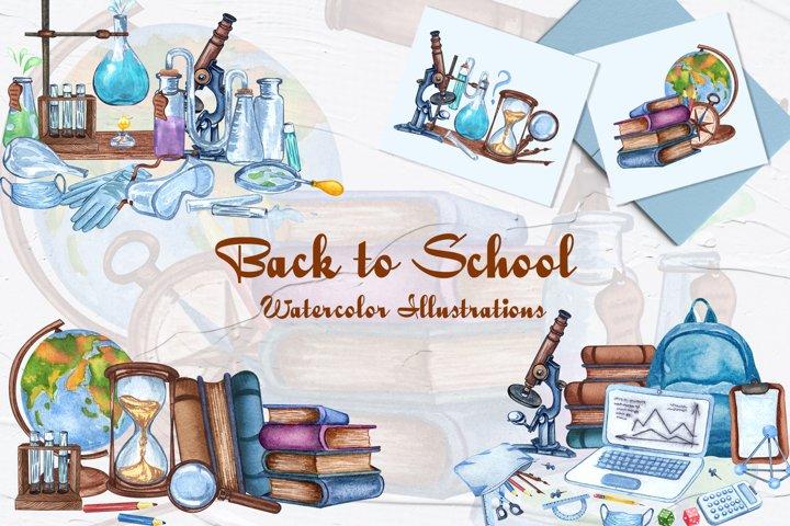 School Watercolor Illustrations