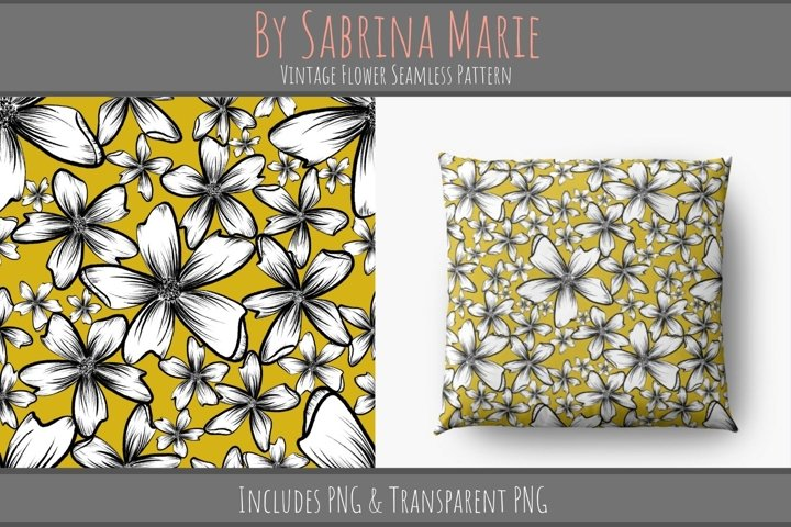 Vintage Flower Seamless Pattern | Retro Repeating Pattern