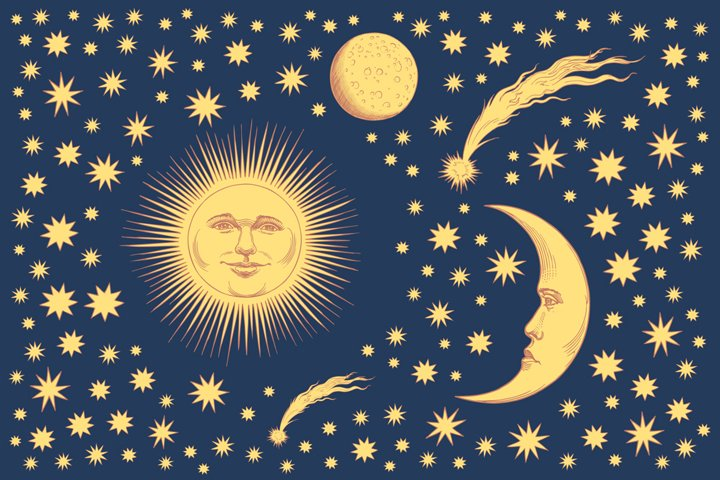 Sun, Moon and stars.Hand drawn illustration.Vector engraving