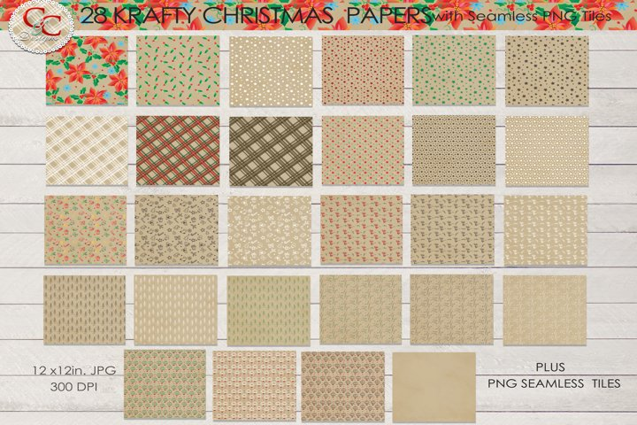 28 Krafty Christmas Papers- Plus 15 Seamless PNG Patterns