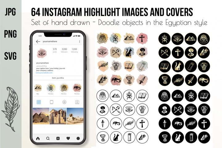 Hand drawn Watercolor Instagram Highlight icons travel cover