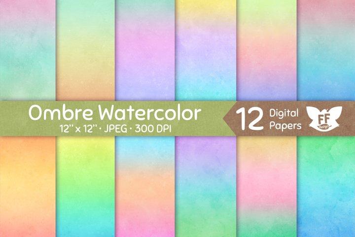 Soft Ombre Pastel Watercolor Textures - Digital Paper Set
