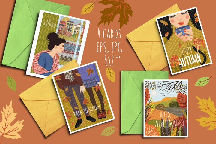 Fall postcard set with girls and coffee mug cozy, hand drawn